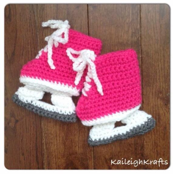 Pink Hockey Skate Booties Baby Crochet NHL Ice Skates Hockey
