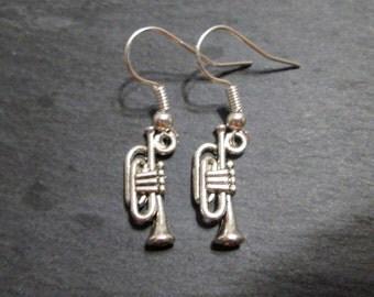 Petite Silver Trumpet Charm Earrings