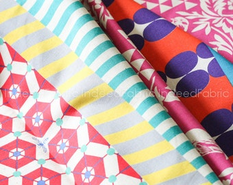 SHEETING- Striped Pink Birds- Kokka Japan, Echino Collection, Etsuko Furuya, Cotton Linen Sheeting