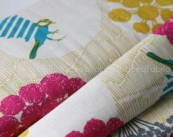SHIRTING- Circle Birds Beige- Kokka Japan, Echino Collection, Cotton Printed Shirting