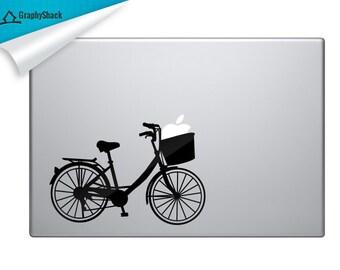 Hipster Bike, Macbook Decal, Laptop Decal, Mac Decal, Laptop Sticker, Vinyl Decal, Bike, Bicycle, Hipster Decal, Biker Girl, Gift Idea