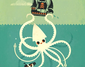 Get Kraken by Amber Leaders whimsical Kraken art print 5x7, 8x10, 11x14