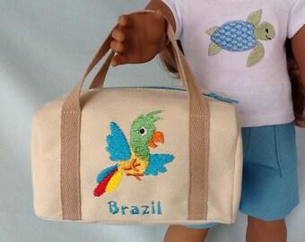 Brazil Travel Duffle Bag for American Girl/18 Inch Doll