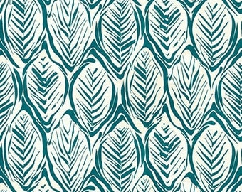 Tropical Teal Fabric by Yard  -----Cotton, Linen