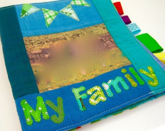 Custom Personalized Fabric Family Photo Soft Book for Baby/Toddler   Great First Birthday Gift