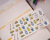 Sweep and mop general cleaning stickers - functional watercolour planner stickers suitable for any planner -171-