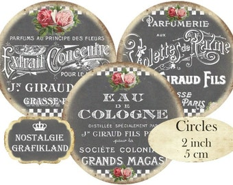 Chalkboard French Perfume Soap Savon Shabby Chic Circles 2 inch Instant Download digital collage sheet C123