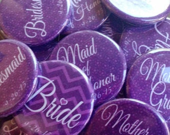 "15 2.25"" Purple Bachelorette Party Buttons/Pins/Magnets"