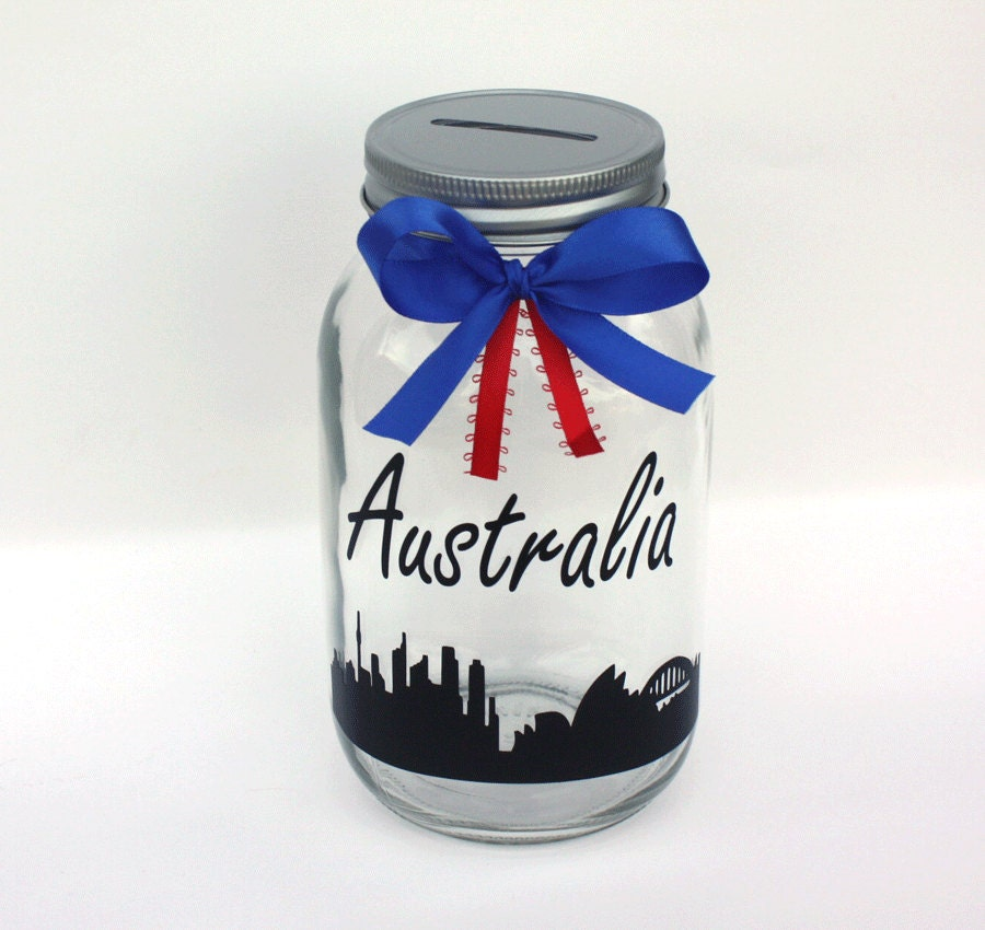 Australia Mason Jar Bank Large Quart Size Customizable Bank
