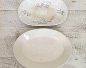 Vintage Pale Blue Transferware and Whiteware/Ironstone Plate Set