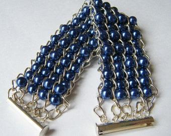 Sapphire blue pearl cuff