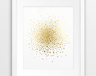 Abstract Circle Printable File, Geometric Art Gold Foil Texture, Polka Dot Art Modern Wall Art Home Office Decor Digital Print, Downloadable