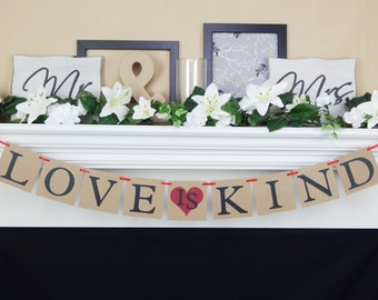 Love is Kind banner, wedding banners, bridal shower decorations, valentines day banner, love is sweet, wedding photo prop,valentines decor