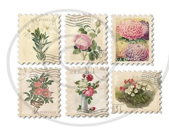 Floral stamps. Fake stamps. Old postage stamps. Vintage digital stamps. Postage stamp art. Digital collage sheet #4. Instant download PNG