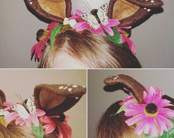 Fawn Fairy Headdress, Deer Ears, Adult Cosplay Headpiece - Made to Order