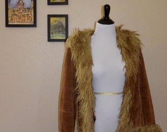 Marvin Richards 1970 // 70s style vintage faux fur lined jacket
