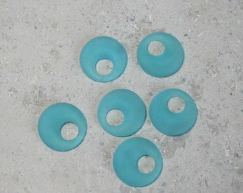 3 Pair of Beach Glass Turquoise blue