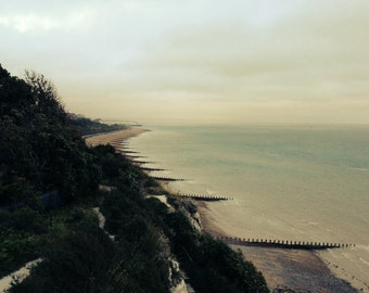 View from south coast cliffs, sepia photograph