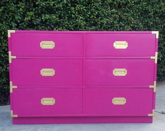 SOLD Campaign Hot pink 6 drawer dresser Brass corners