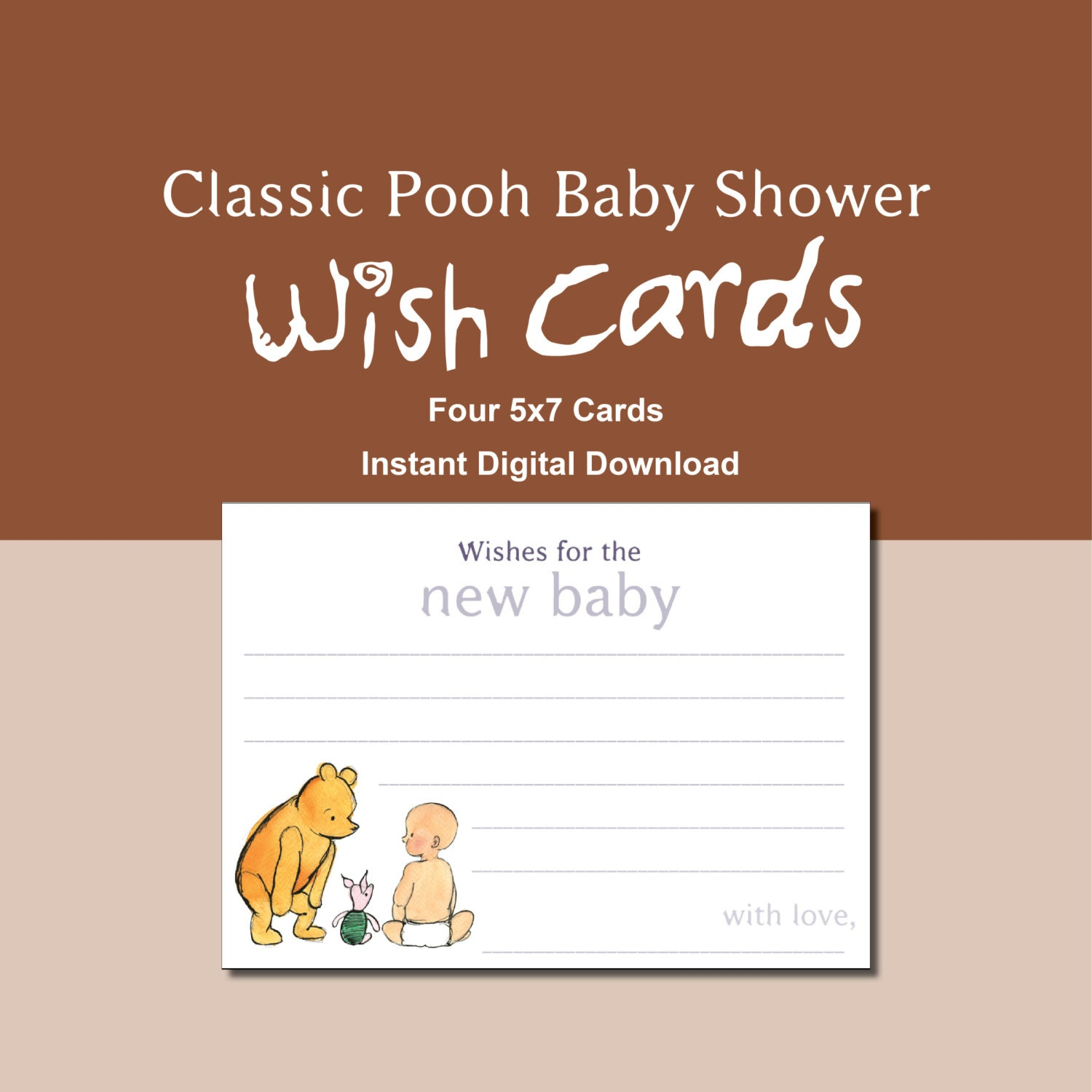 classic pooh baby shower wish cards