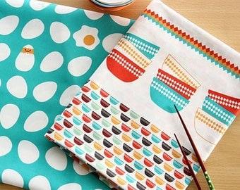 Cute Wood Bowls Pattern Cotton Fabric, 140cm / 55 inch Width, 59cm / 24 inch Length