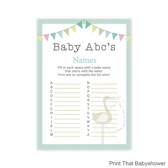 baby shower games baby name abc game blue stork baby shower blue