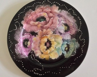 Hand-Painted Porcelain Plate of Poppies