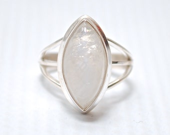 Sterling Silver Marquise Rainbow Moonstone Ring Sz 4.5 #6374