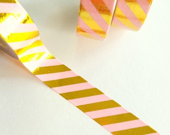 Pastel Pink with Metallic Gold Stripes Washi Paper Masking Tape, 11 yards, 10 Meters, Gift Wrap Tape