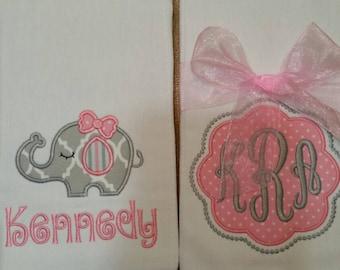 Elephant Burp Cloth, Monogrammed Burp Cloth, Personalized Burp Cloth, Girl Burp, Burp Cloths