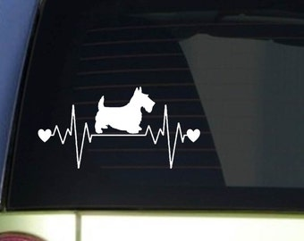 "Scottie Scotty heartbeat lifeline *I248* 8"" wide Sticker decal scottish terrier"