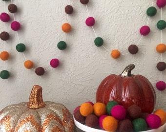 Fall Felt Ball Garland, Autumn Garland, Thanksgiving garland, Pom Pom Garland, Halloween Party, Fall Leaves Garland, Woodland Decor