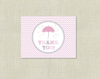 Pink Umbrella Sprinkle Thank You Flat Cards / Printable / Baby Shower Thank you