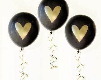 Bridal Shower Balloons (6ct) - Gold Heart Balloons, Wedding Balloons, Gold Metallic Balloon, Bachelorette Party Decor (EB3110HRT)