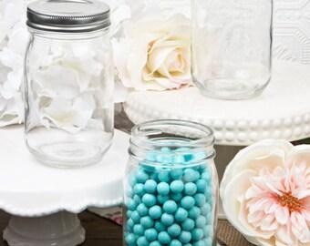 Plain or Personalized 16 oz Glass Mason Jar Favor