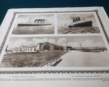Chelsea Piers, White Star and Cunard Lines, Britannic - NYC - 12x10 Beautiful Antique Rotogravure Print. Fine detail with ornate border.