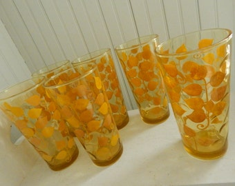 Mid Century Beverage Tumblers Drinking Glasses - Set of 8 - Stylized Modern Leaf Design - Amber Beverage Glasses with Gold and Orange Design