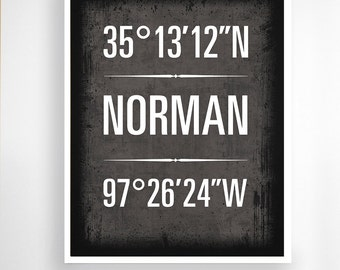 "Norman, Oklahoma, Geographic Coordinate Print,  8"" x 10"" or 11"" x14"""