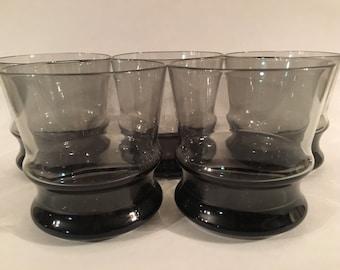 Set of Vintage Smoke Glass Old Fashion Style Glasses.  Set of 5