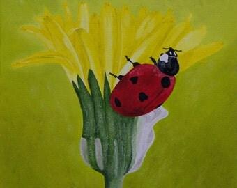 "Ladybug Oil Painting, Bug Painting, Ladybug, Flower, Bug, Small, Original Oil Painting, (10"" x 10"")"