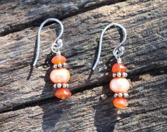 Carnelian & Freshwater Pearl Earrings