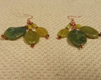 September: jade & glass bead earrings featuring copper accents