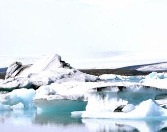 Icelandic Winterscape - Digital Photography, Iceland Photography, Iceland Art, Iceberg, Winter Art, White Art, Neutral Art, Wanderlust Photo