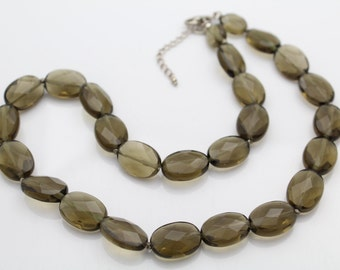 "Smokey Quartz Faceted Bead Necklace w Sterling Silver Clasp 15"". [5344]"