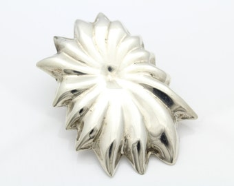 Big Vintage Sterling Silver Puffy Flower Burst Taxo Pendant 30.6g. [5803]