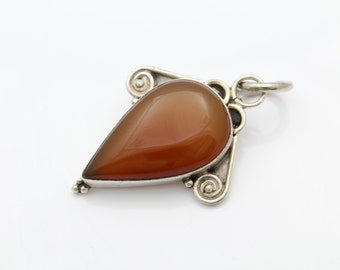 Large Sterling Silver and Carnelian Bali Tribal Artisan Pendant. [5928]