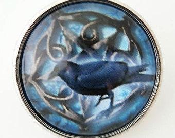 KB2914-N Art Glass Print Chunk Bird w/Blue Background - Crow