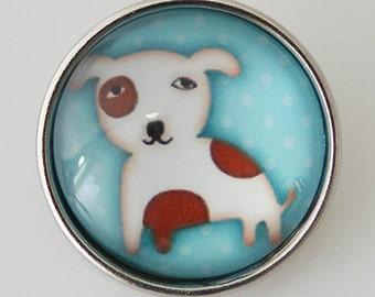 KB2551-N Art Glass Print Chunk - Cute Pup on Blue Background