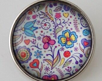 KB2864-N Art Glass Print Chunk - Assorted Flowers