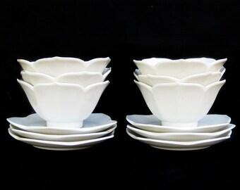 Vintage Set of Twelve- Six White Lotus Bowls and Six Lotus Saucers